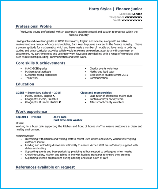 School leaver basic CV template