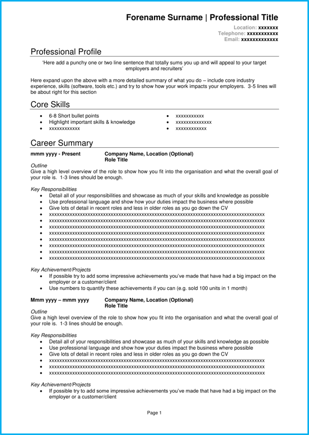 blank cv template   8 cv examples  download