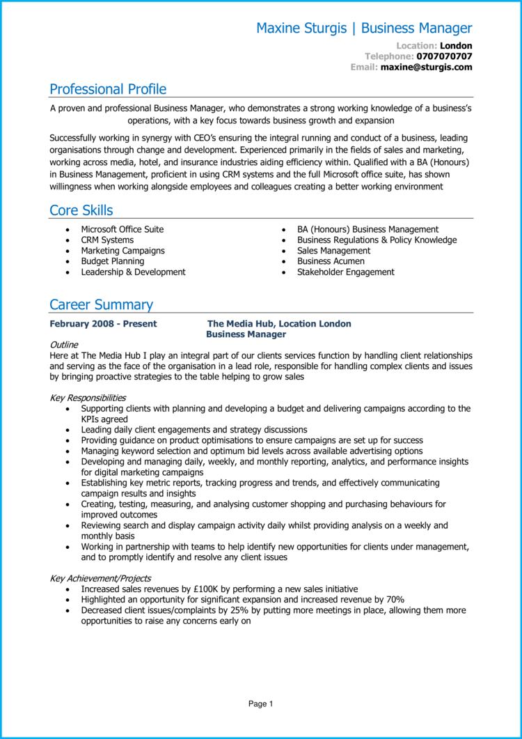 Business manager CV 1
