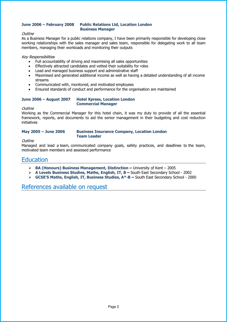 Business Manager CV 2