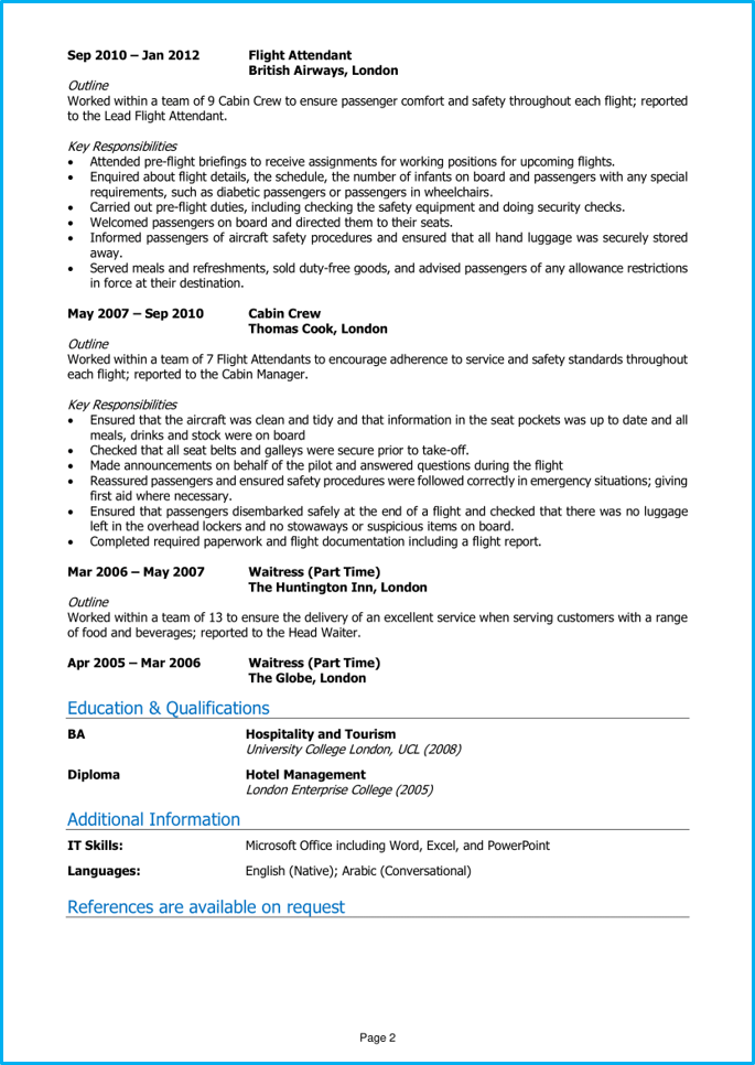 cabin crew cv example   guide  land top airline jobs