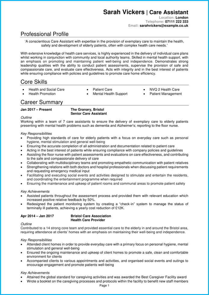 Care assistant CV example page 1