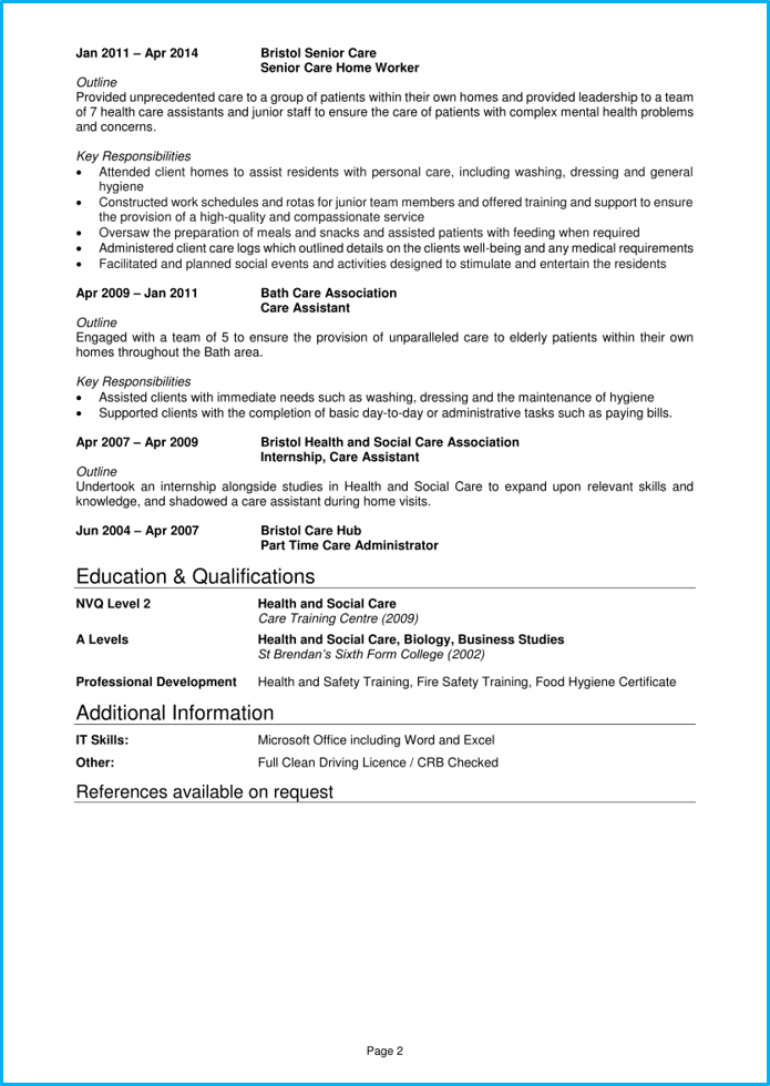 Care assistant CV example page 2