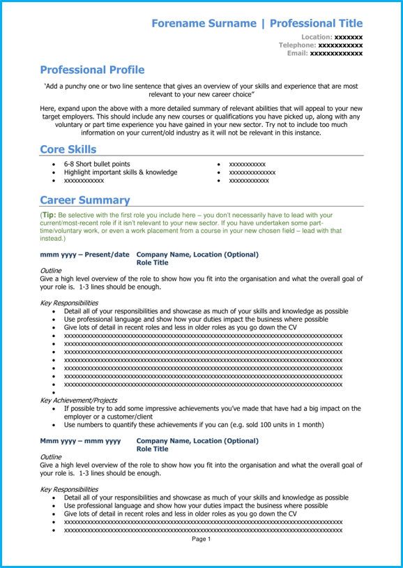 Career change CV template page 1