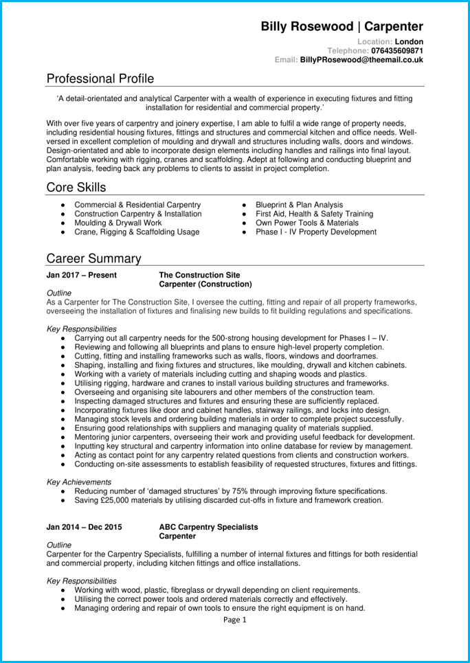 Carpenter CV page 1
