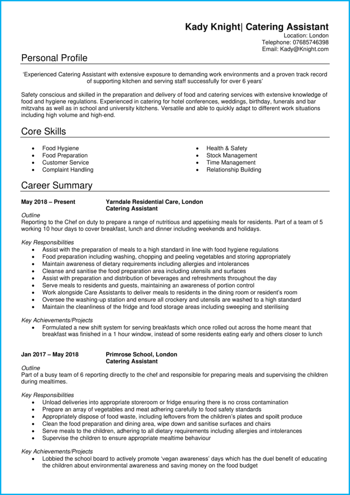 Catering Assistant CV page 1