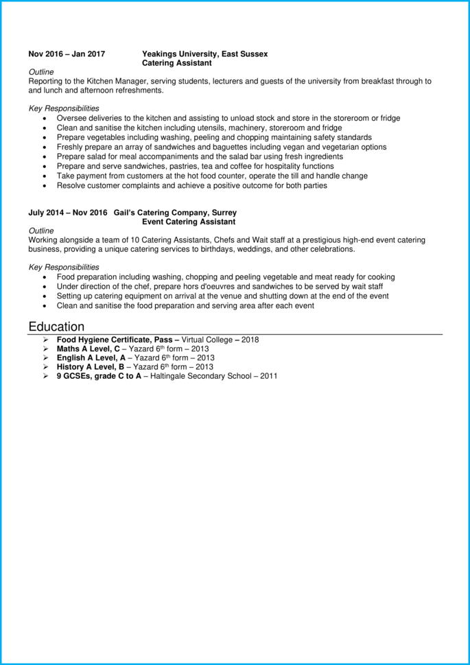 Catering Assistant CV page 2