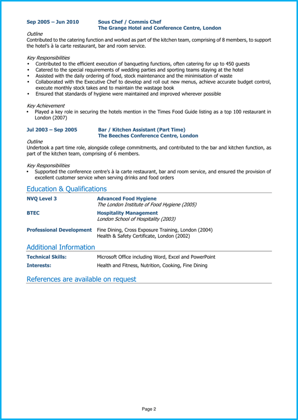 Chef Cv Example Cv Writing Guide Land The Best Chef Jobs