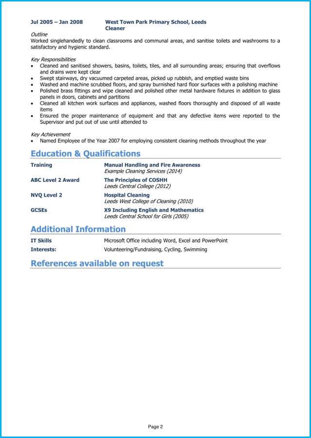Cleaner Cv Example And Writing Guide Get Noticed By