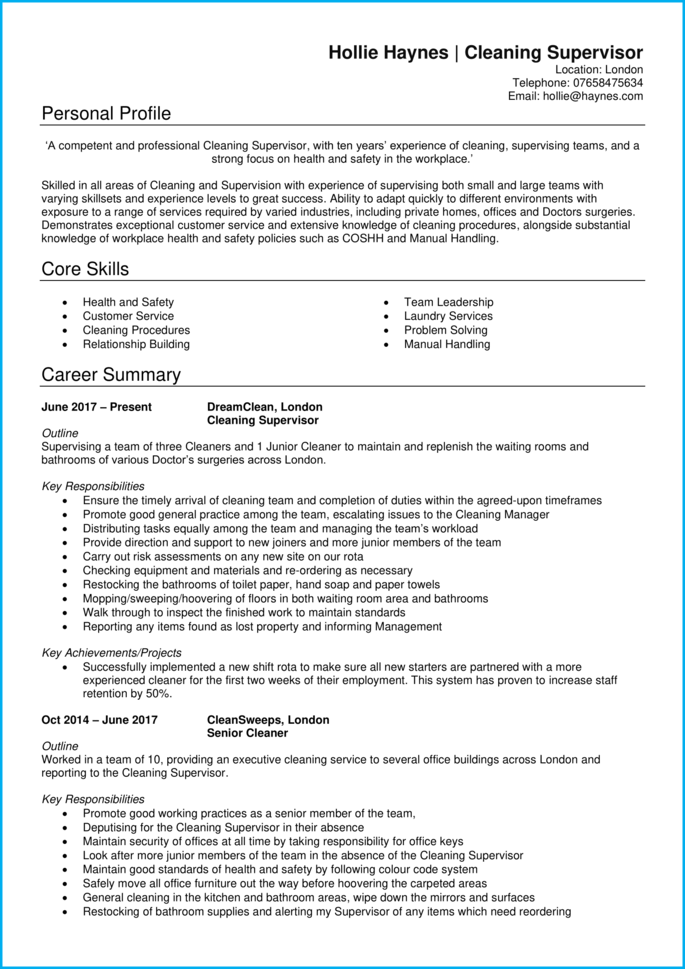 Cleaning supervisor CV page 1