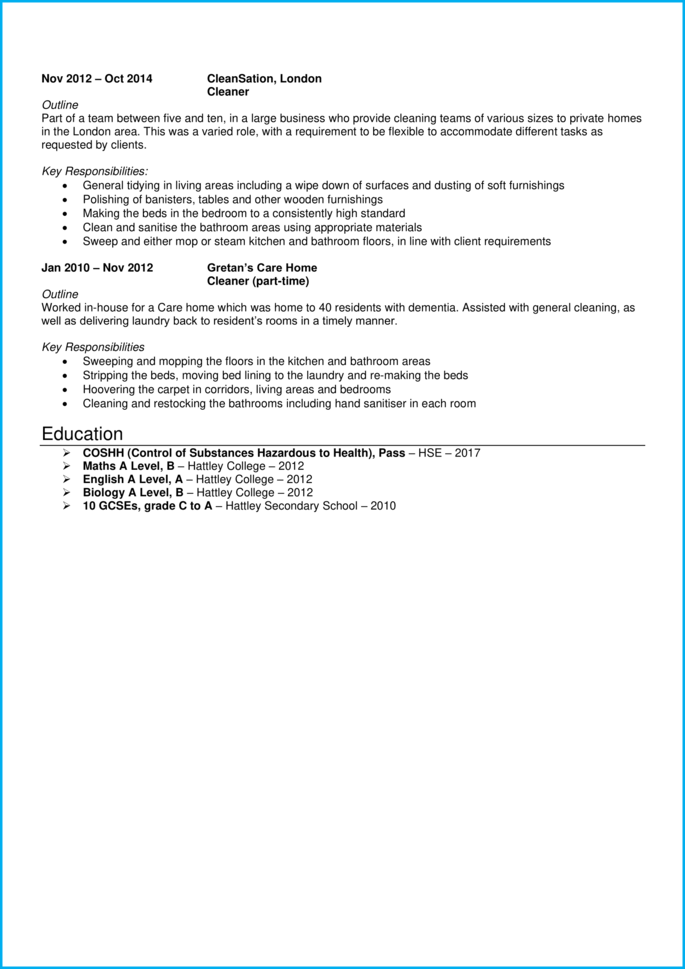 Cleaning supervisor CV page 2