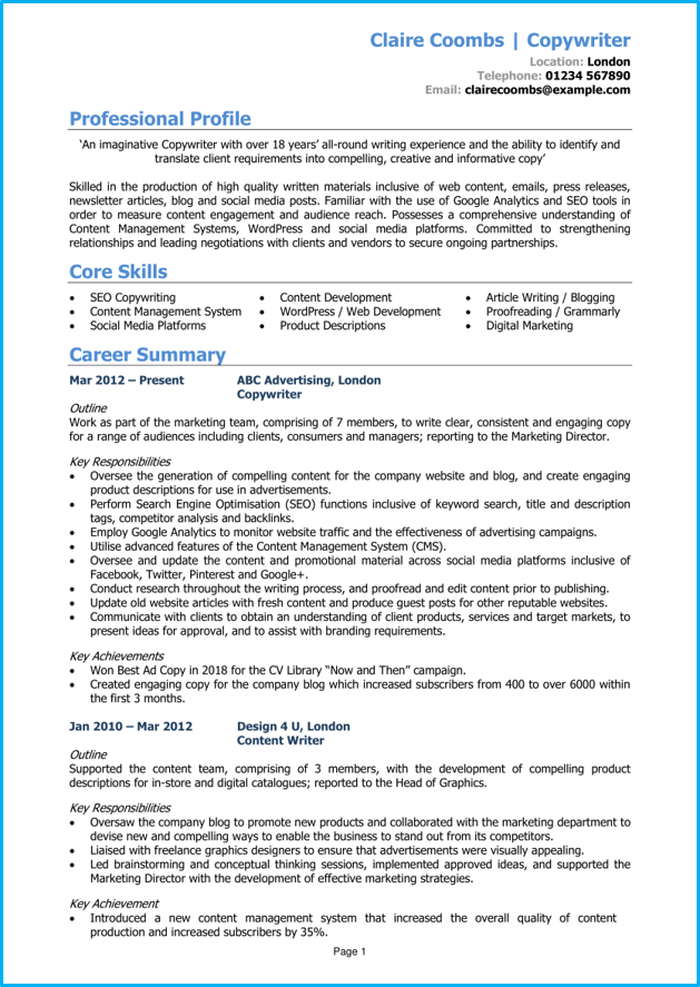 Copywriter CV template 1