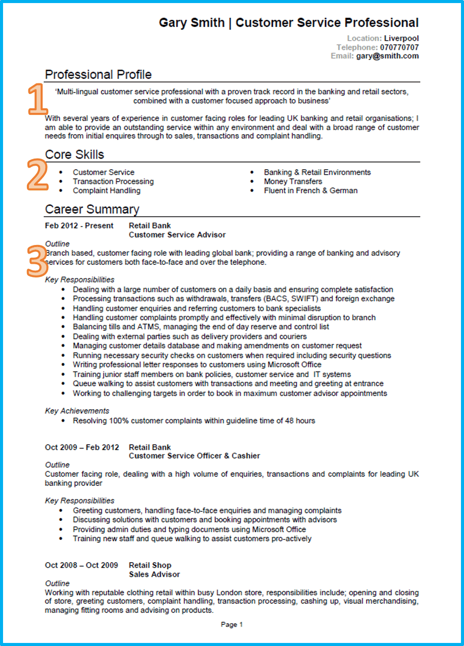 Example of a good cv customer service cv 1 yelopaper Gallery