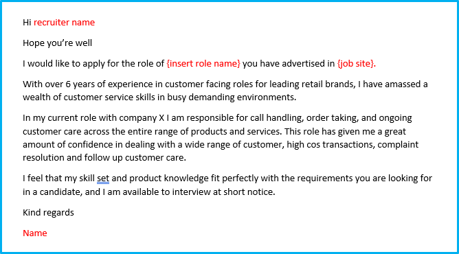Customer service CV cover letter