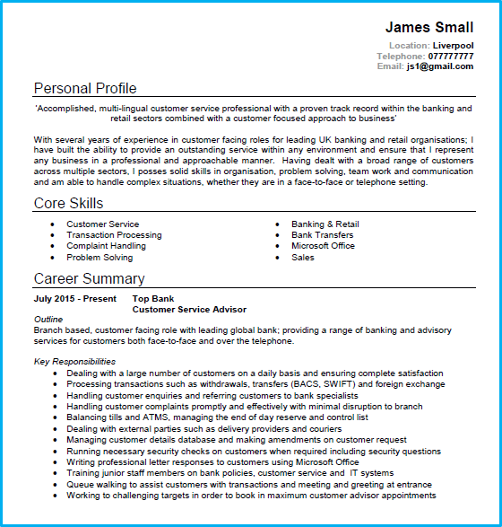 sample of cv customer service