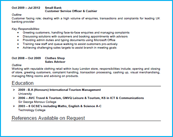 Basic CV template Customer service page 2
