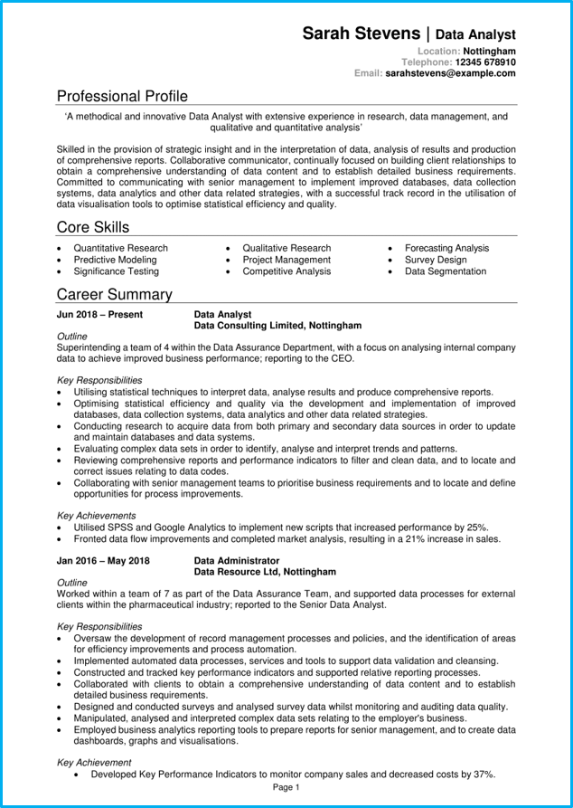 Data Analyst Cv Template Zohre Horizonconsulting Co