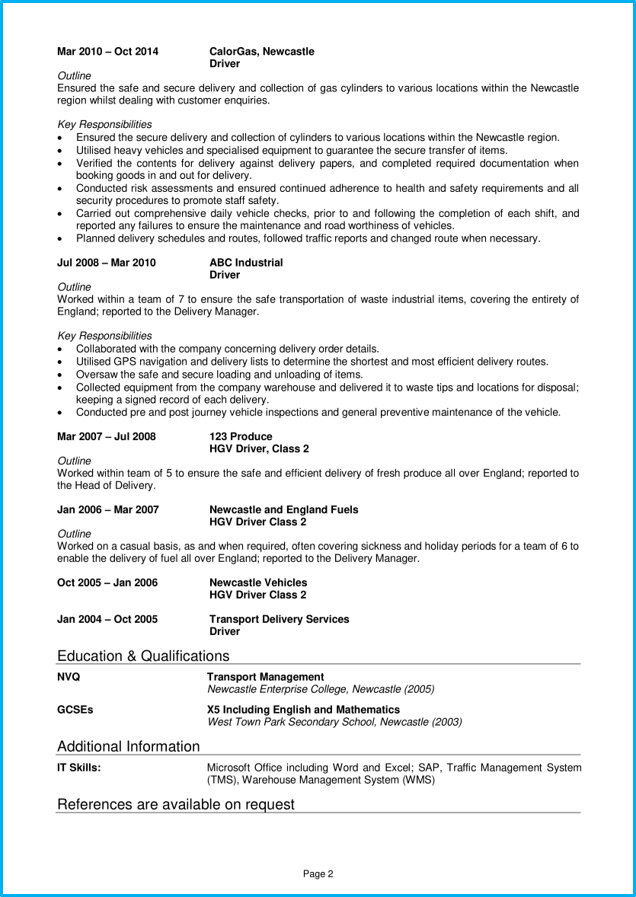 delivery driver cv example   writing guide  land top jobs