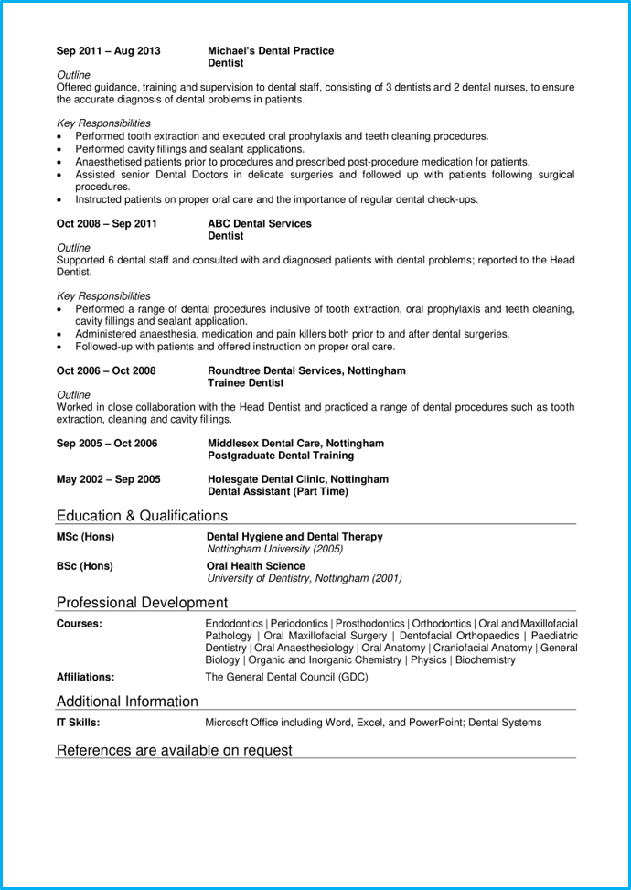 Medical CV 3 Dentist page 2