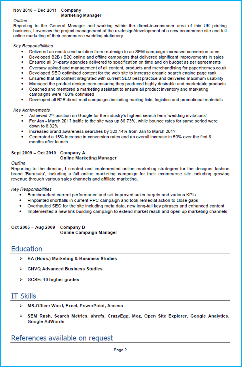 Google Docs marketing CV example page 2
