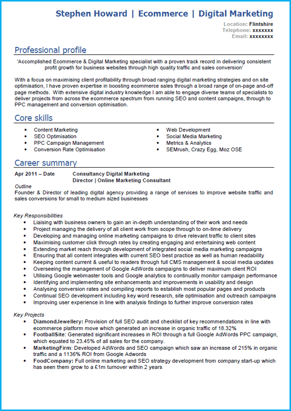 Google Docs marketing CV example