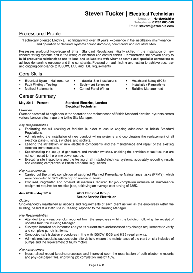 Electrician Cv Example Writing Guide Get Noticed By