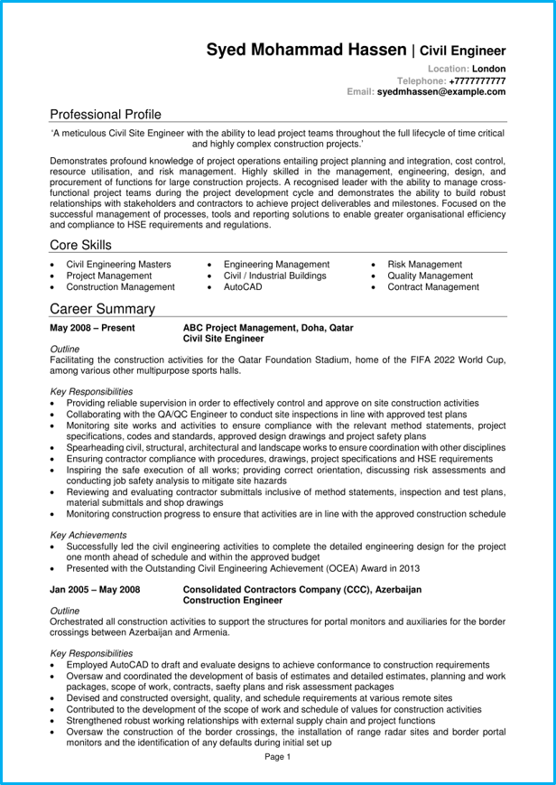 engineer cv example  template   writing guide  get the job you want
