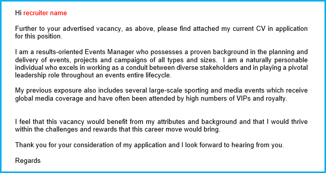 Events CV cover letter
