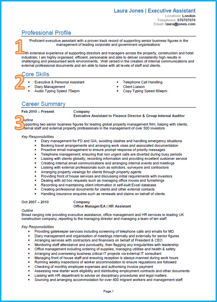 executive assistant curriculum vitae download cv template