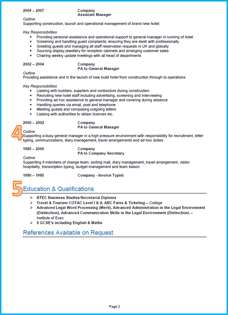 executive assistant curriculum vitae page 2 download cv template