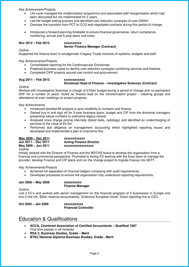 executive cv template and 5 executive cv examples land top jobs