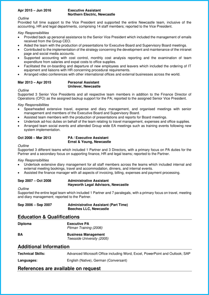 Executive assistant CV page 2