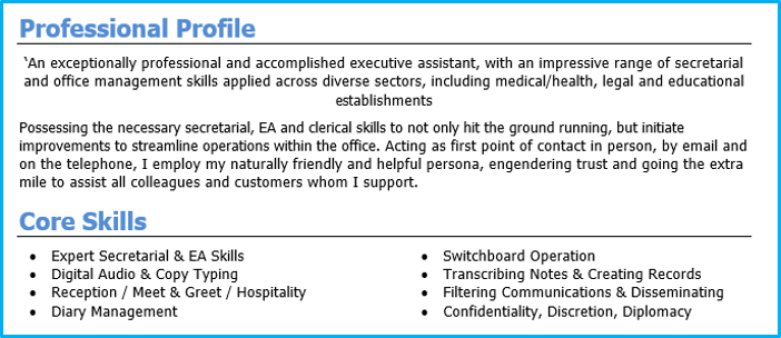 good example of cv personal profile
