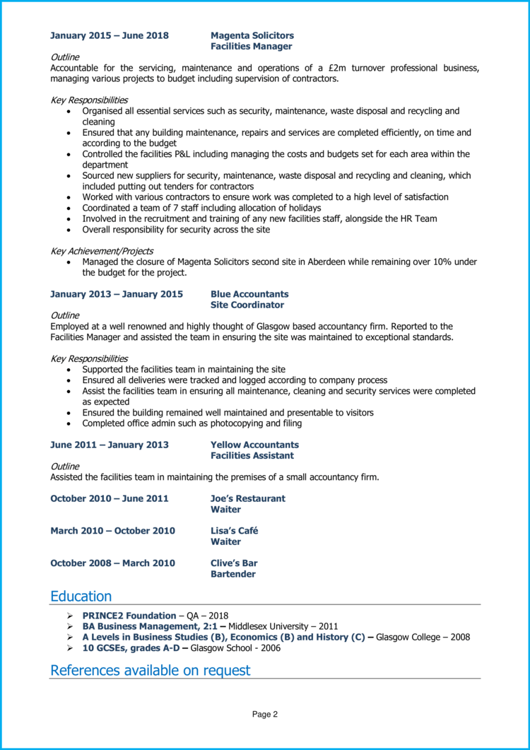 Facilities manager CV 2