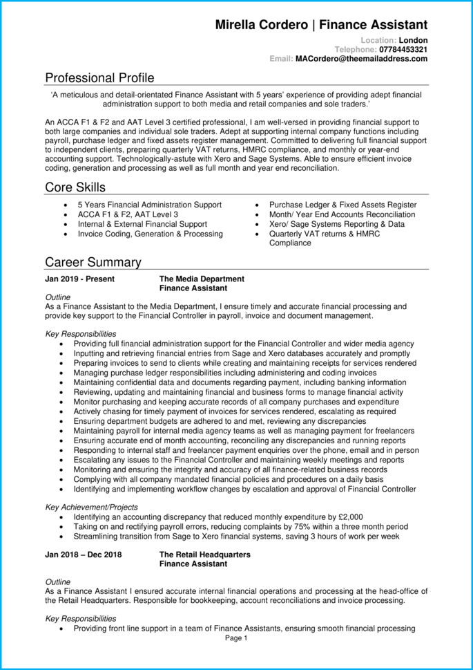 Finance assistant CV page 1