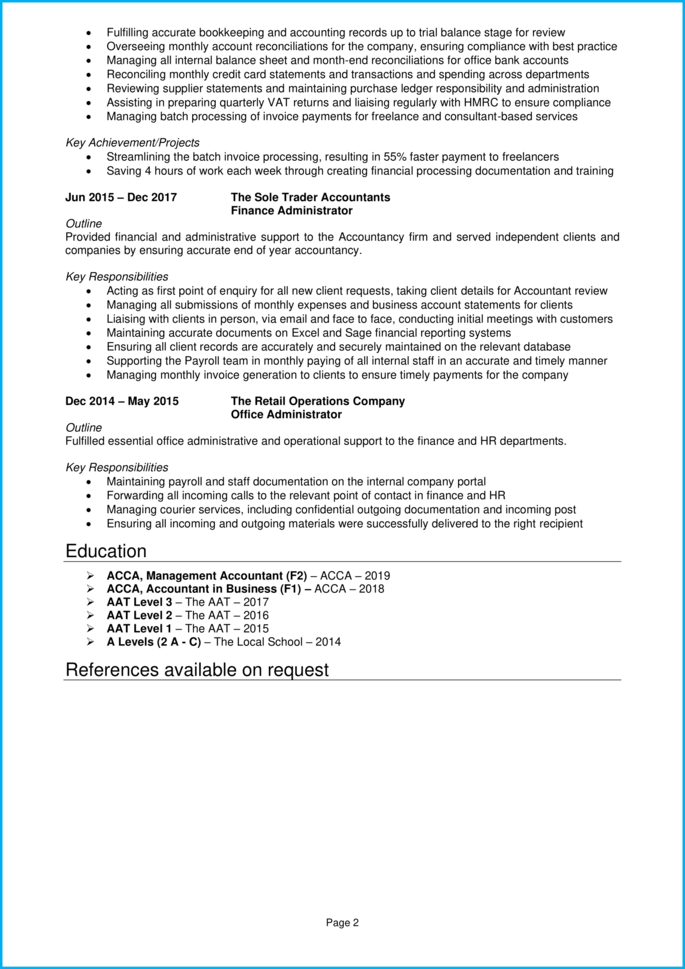 Finance assistant CV page 2