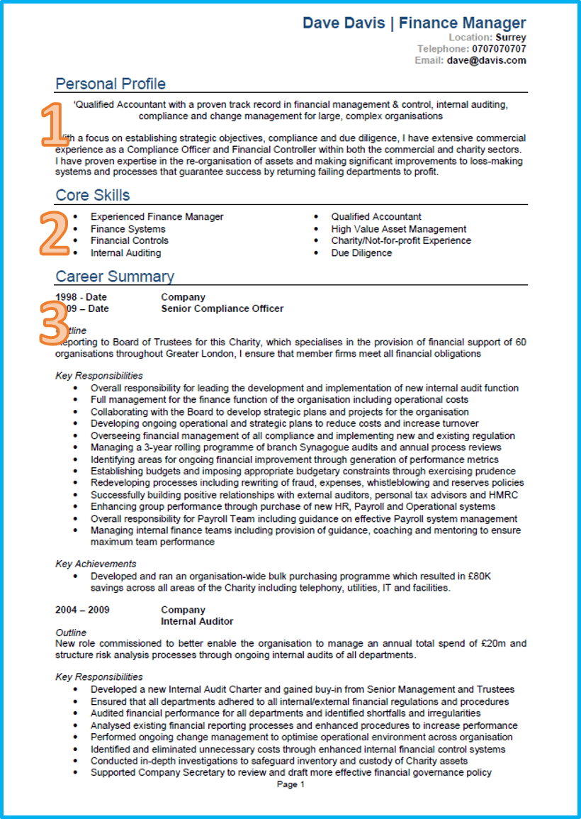 Finance CV template Word UK page 1