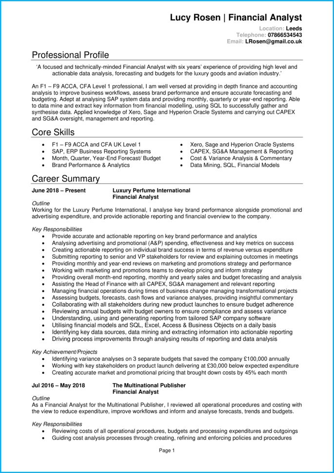 Financial Analyst CV page 1