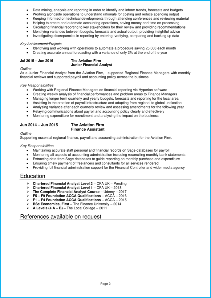 Financial Analyst CV page 2