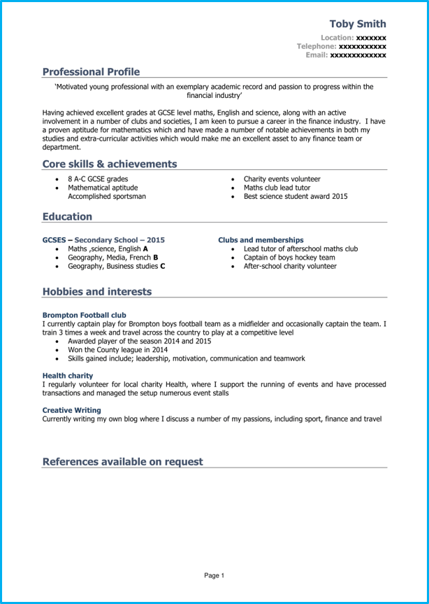 cv template for 16 year old kick start your career