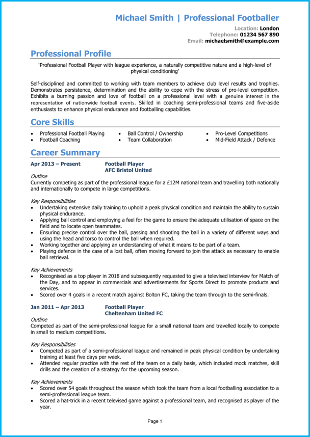 footballer cv example   cv writing guide  get noticed by