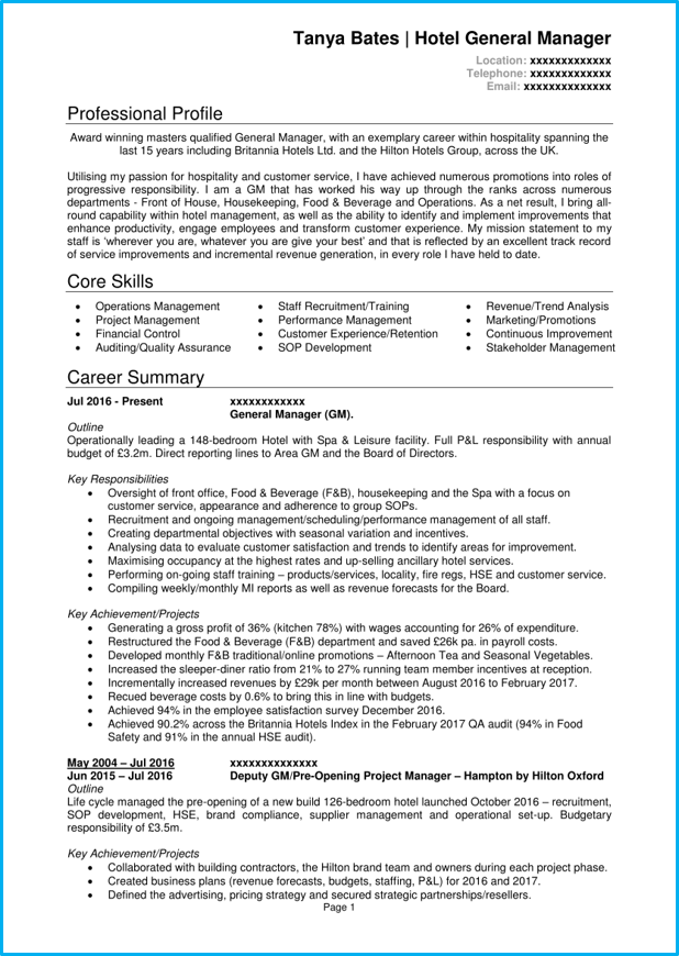 Hospitality management resume samples experience resumes resume.
