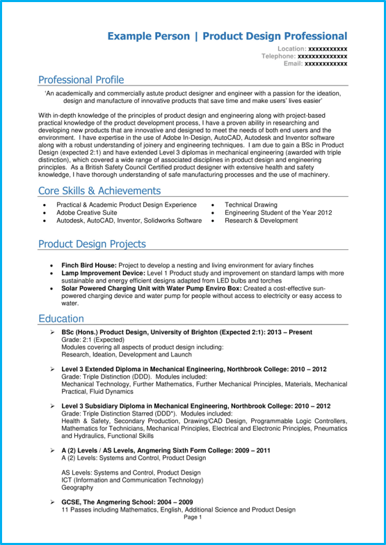 Graduate CV template Word UK page 1