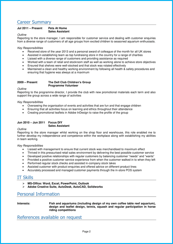Graduate CV template Word UK page 2