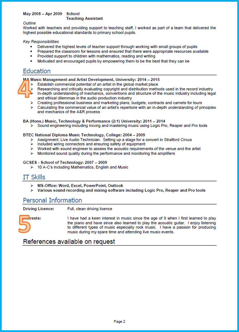 Example of a good cv graduate cv page 2 alramifo Images
