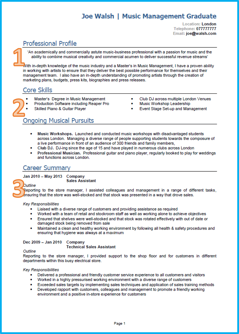 graduate cv - Typical Curriculum Vitae