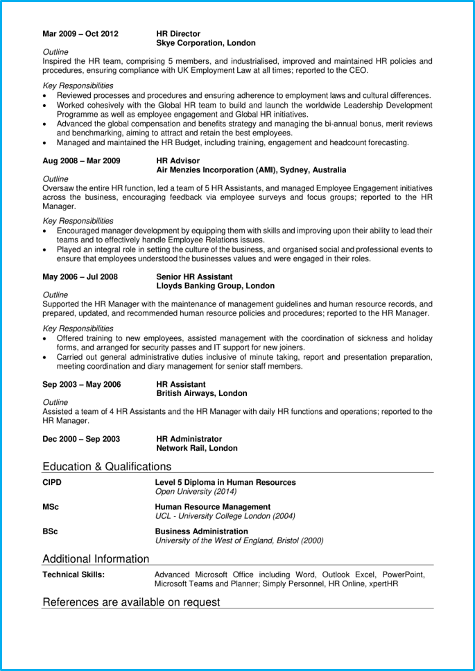 HR manager CV page 2