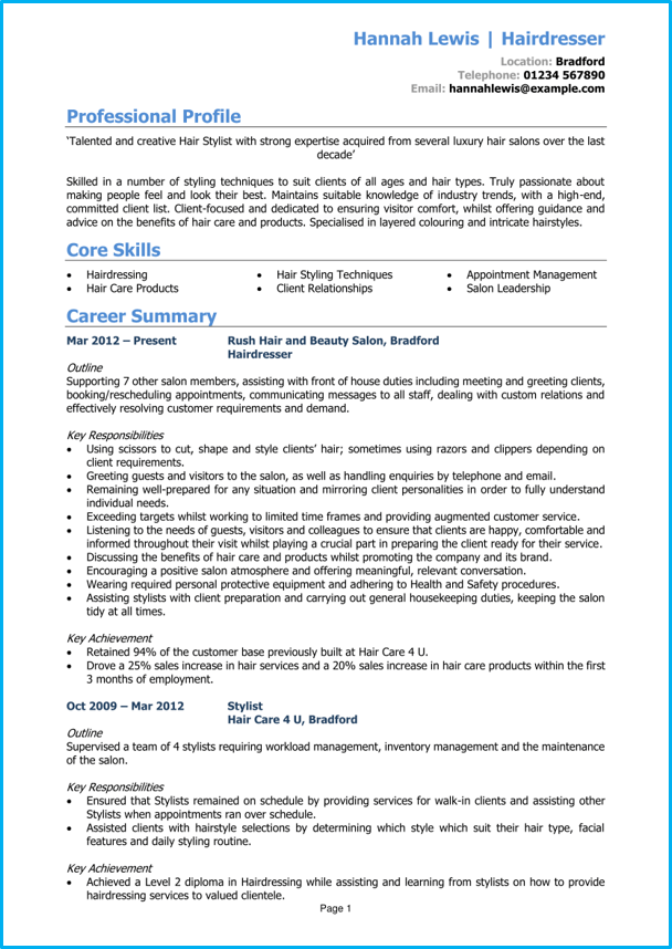 hairdresser cv example   cv writing guide  get hired quickly