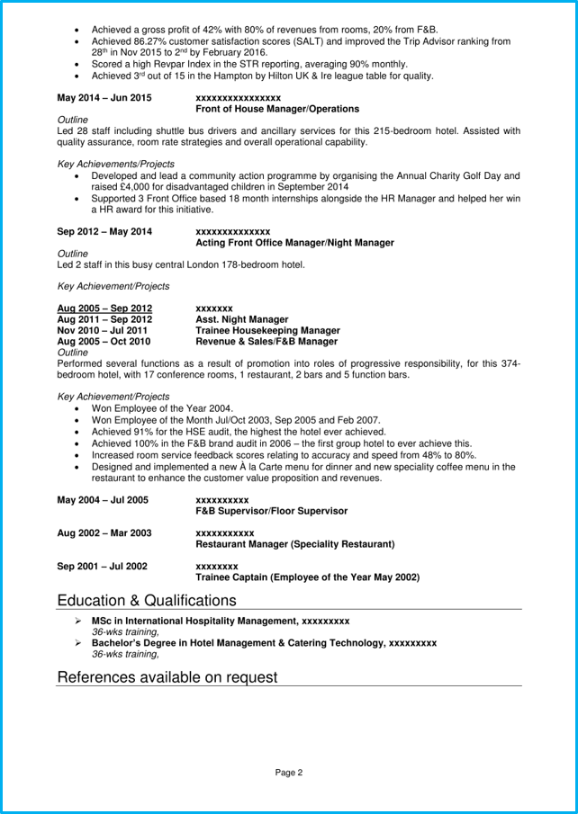 hospitality cv example   writing guide  land job interviews
