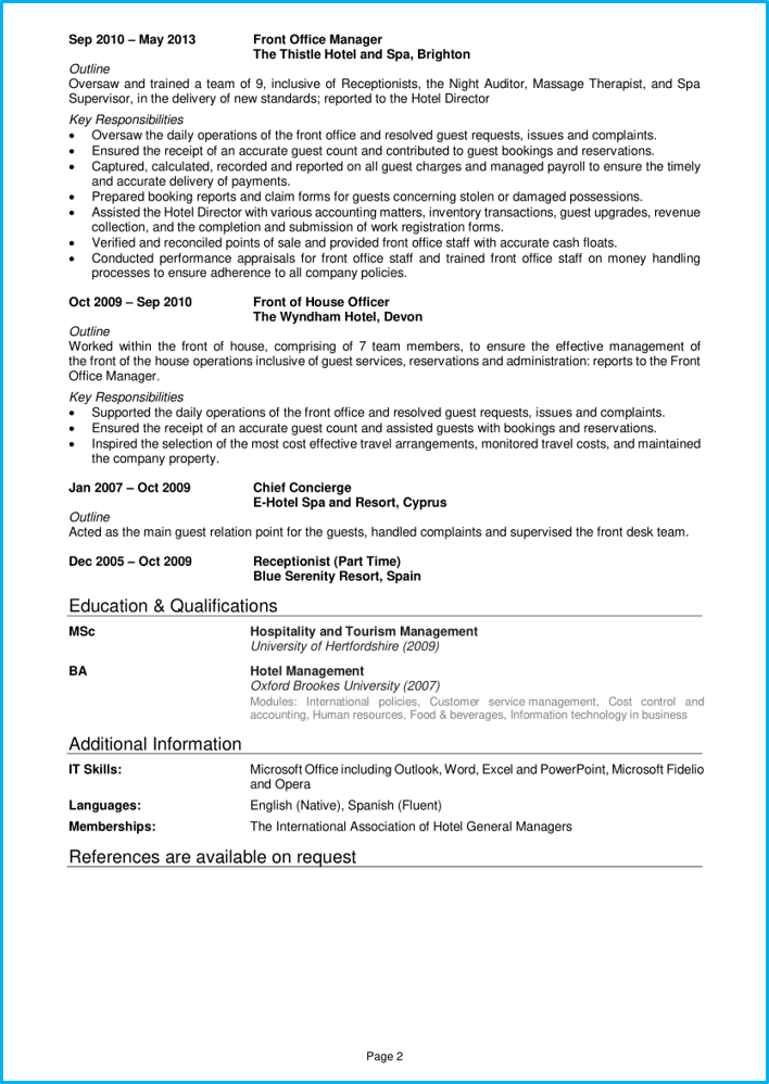Hotel manager CV page 2
